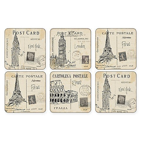 "Pimpernel - Postcard Sketches 4x4"" Coaster s/6 - Britannia Kitchen & Home Calgary"
