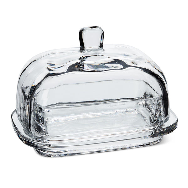 Large Rectangular Glass Covered Butter Dish