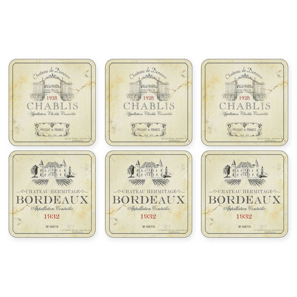 "Pimpernel - Vin de France 4x4"" s/6 Coasters"