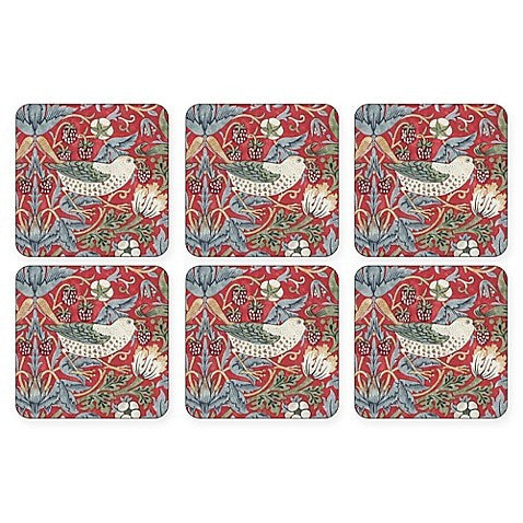 "Pimpernel - Strawberry Thief Red 4x4"" Coaster s/6"