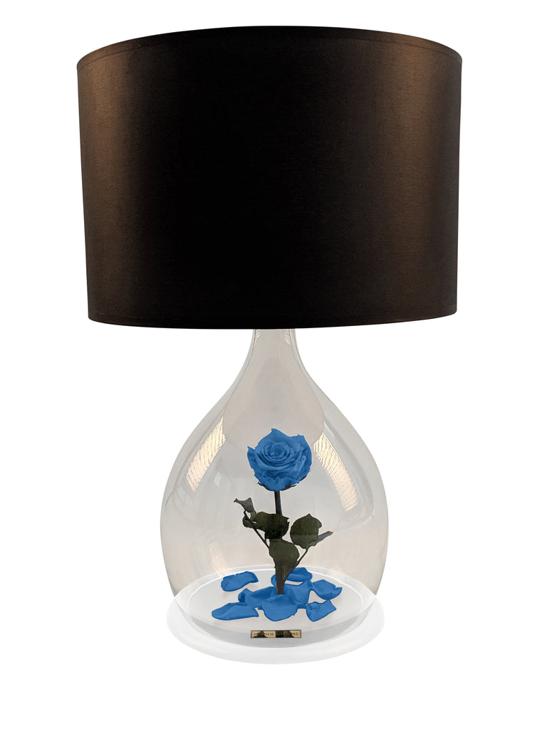 Rosen Lampe mit Rose in Blau