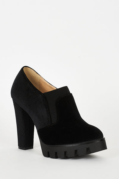 Black Velvet Block Heel Platform Shoes