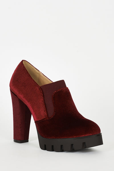 Burgundy Velvet Block Heel Platform Shoes