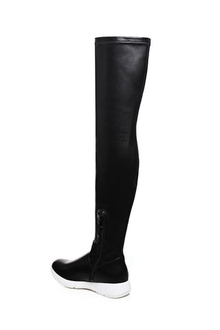 Black Faux Leather Over The Knee Boots
