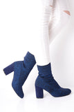 Blue Glitter Stretch Sock Boots