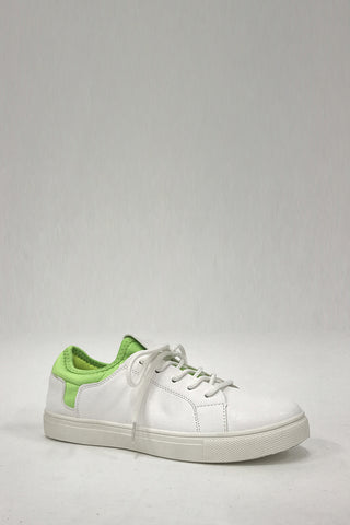 Trendy White And Green Trainers