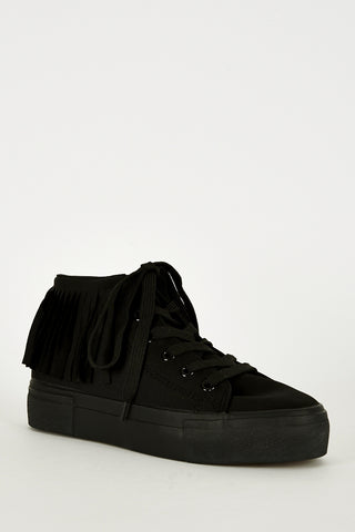 Black Fringe High Top Trainer