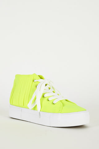 Fluorescent Yellow Fringe High Top Trainer