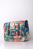 All-Over Floral Print Satchel in Blue