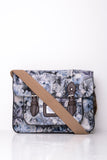 All-Over Floral Print Satchel in Grey
