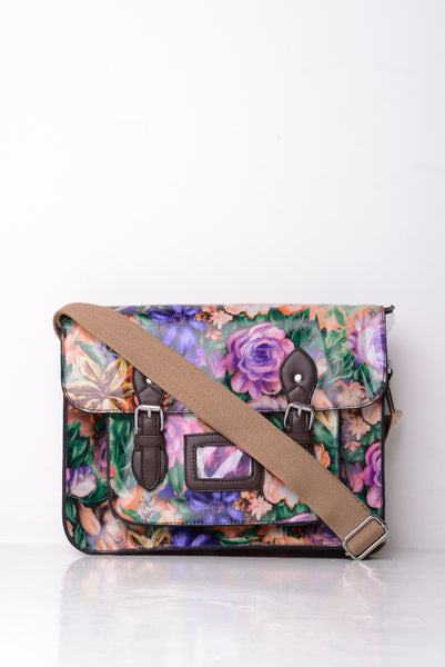 All-Over Floral Print Satchel in Purple