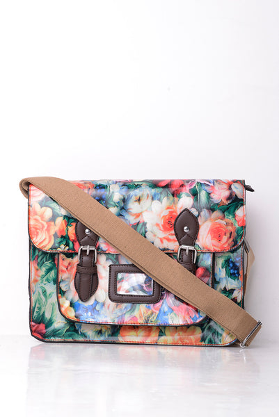 All-Over Floral Print Satchel in Red