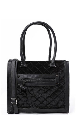Quilted Velvet Handbag in Black