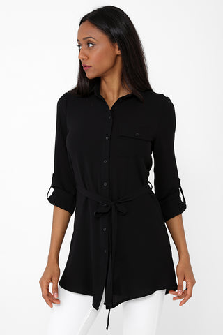 Lightweight Shirt Dress in Black Ex Brand