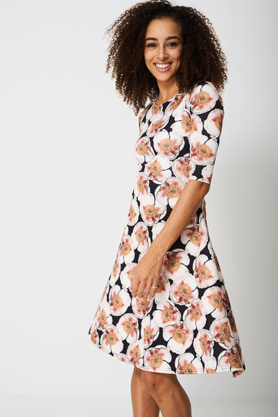 All Over Peony Flower Print Dress
