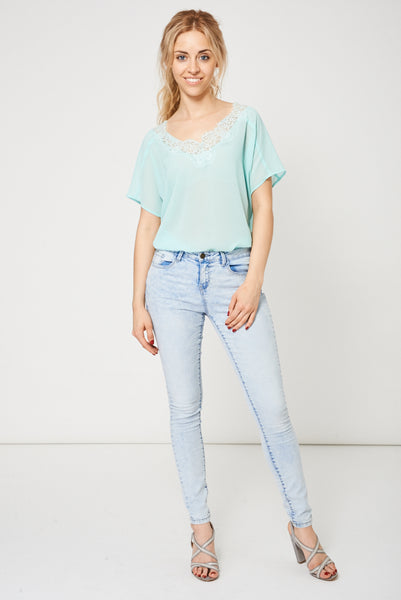 Acid Wash Skinny Jeans In Light Blue Ex-Branded Available In Plus Sizes