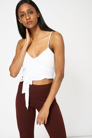 White Belted Spaghetti Strap Crop Top - lovelystyles