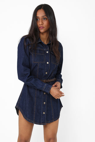 Navy Denim Mini Dress Ex Brand
