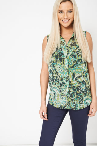 Green Abstract Print Chiffon Shirt Available In Plus Sizes