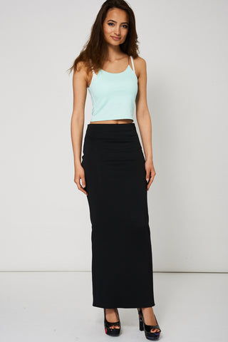 Black Maxi Pencil Scuba Skirt Available In Plus Sizes