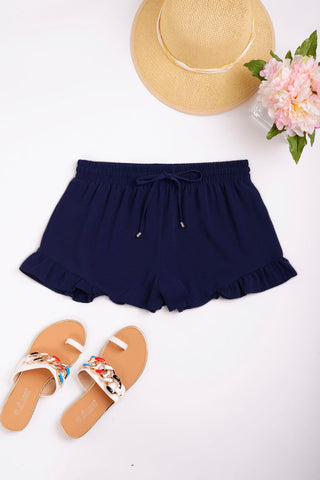 Navy Shorts with Frill Hem Ex Brand