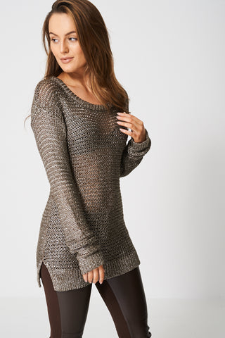 Bronze Metallic Knit Jumper