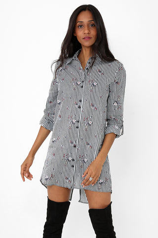 Floral Print Striped Shirt Dress Ex Brand