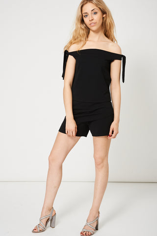 Black Off The Shoulder Top And Shorts Set Ex-Branded