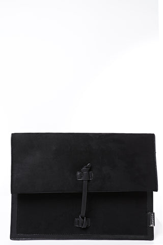 LAMODA Black Faux Suede Envelope Bag