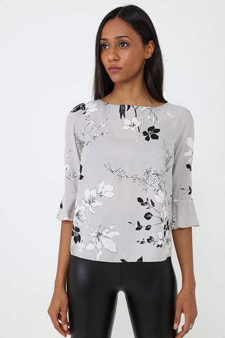 Floral Print Top with Fluted Sleeve