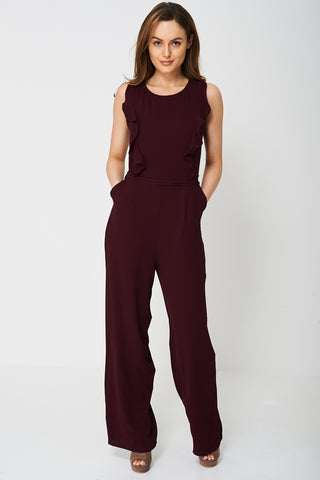 Wide Leg Burgundy Jumpsuit Ex-Branded