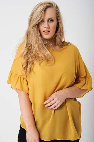 PLUS Frill Sleeve Top in Mustard Yellow