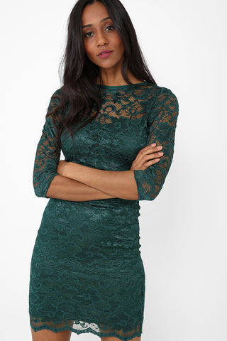 Cut Out Back Bodycon Dress in Bottle Green
