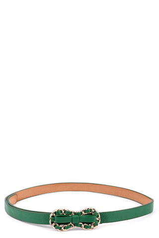 Skinny Faux Leather Chain Belt - lovelystyles