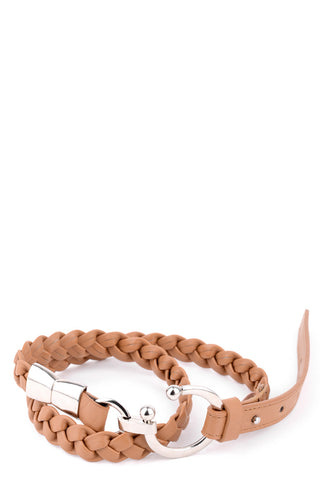 Plaited Faux Leather Belt with Metal Buckle Detail - lovelystyles