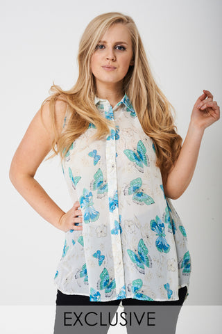 Plus-Size Exclusive Lightweight Butterfly Print Top