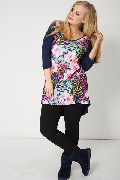 Deep Hem Navy Top With Multi Coloured Floral Print