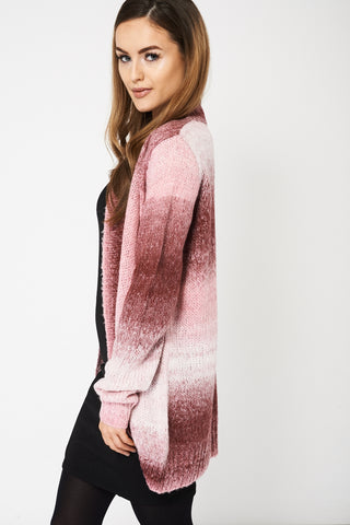 Pink Fluffy Feel Knitted Cardigan Available In Plus Sizes