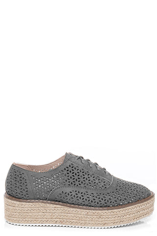 Cut Out Chunky Espadrilles in Grey