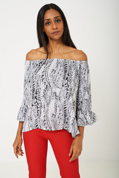 BIK BOK Bell Sleeve Top in Paisley