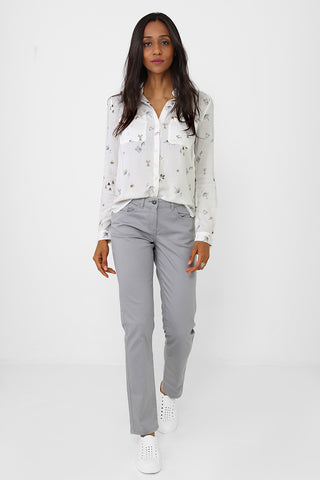 Grey Mom Fit Trousers