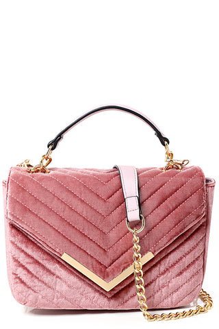 Velvet Quilted Shoulder Bag in Dusty Pink