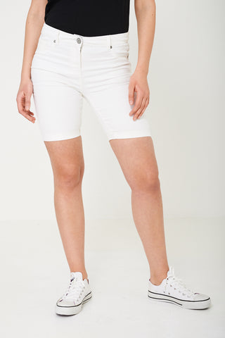 Cream Embroidered Shorts Ex Brand