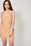 Beige Spaghetti Strap Tunic Top With Lace Detail