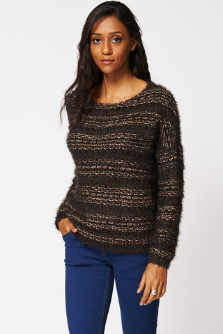Open Knit Long Sleeve Fluffy Jumper Ex-Branded