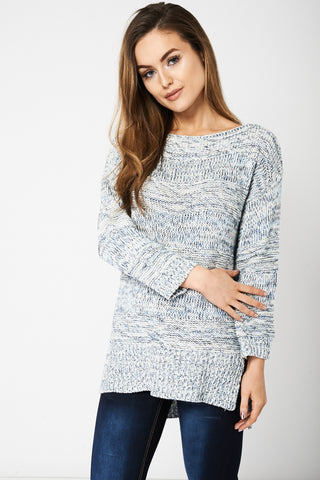 Blue And White Crop Sleeve Jumper Ex-Branded Available In Plus Sizes