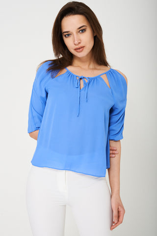 BIK BOK Cold Shoulder Top in Blue