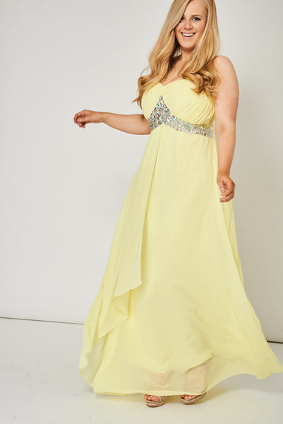 Yellow Pleated Bust And Gem Prom Dress - lovelystyles
