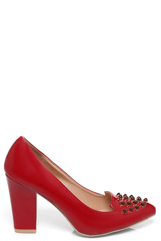 Studded Pointed Heels in Red