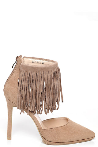 Pointy Fringe Stiletto Heel in Mocha